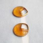 ヴィンテージ 3/4しずく型のガラスチャーム(トパーズ・1コ)