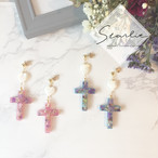 Flower cross design pierce/earring