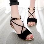 【shoes】丸トゥシンプル全4色ウエッジソール金属飾りサンダル