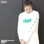 Thunder logo long sleeve Tee WHITExGREEN