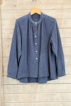 BL31 スタンドカラーブラウス 長袖【K150 藍染縞柄紺ダンガリー】
