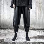 ☆お届けまで1ヶ月☆メンズ  Tierra08 パンツ  レザー ブラック ワイド  ボトムス モード ストリート カジュアル