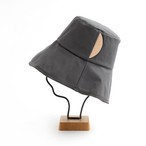 mature ha./paraffin hat wide random stitch/chacoal
