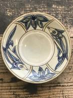 やちむん 次郎窯 魚紋 8寸皿 ブルー