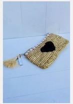 ◆Mon ange Louise◆ 予約受付中!Clutch HEART(black)天然素材を使用した手編みのクラッチバッグ