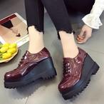 【shoes】レトロソリッドカラー厚手 パンプス14833631