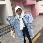 long denim jacket + hoodie 2775