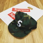 17AW Supreme Wool S Logo 6-Panel Camo CAP