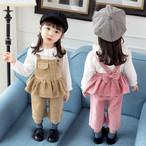 【セット】おしゃれスウィート無地長袖女の子子供服三点セット25263012