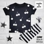 チェリー サクランボ 柄 プリント 半袖 Tシャツ ブラック キッズ 子供服 vanilla&spice
