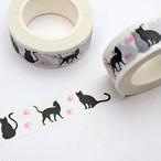 シルエット猫とピンク肉球マスキングテープ【マステ】