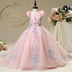 セレモニーキッズ 発表会 ドレス 子供 子供用 かわいい ピンク 刺繍 花柄 おんなのこ バースデー ウェディング