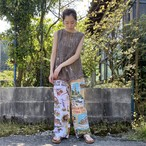Vintage fabric patchwork remake pants Birds