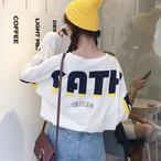 【tops】Tシャツカジュアル韓国系アルファベット長袖ゆったり