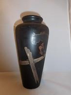 漆馬絵花器 Urushi lacquer vase (horse)