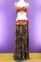 ベリーダンス衣装 ターキッシュスタイル3点セット レッド&豹柄スカート