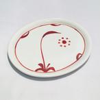 【砥部焼/梅山窯】楕円皿(赤太陽)