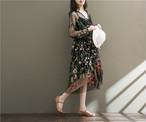 エスニックワンピース インナーつき ロング 長袖ワンピース 刺繍ワンピース Vネックワンピース フリル裾 ボヘミアン風ワンピース 海辺ワンピース