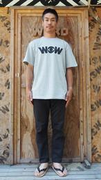 WOWベーシックロゴ Tシャツ ミックスグレーx黒プリント(送料込み)
