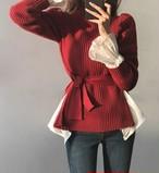 パフウエストリボンニット ニット 韓国ファッション