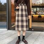 【ボトムス】韓国スタイルAラインチェック柄ミモレ丈スカート