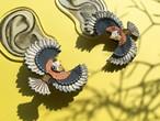 ARRO / 刺繍 ピアス・イヤリング / Flying bird / grey