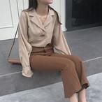 Notched Loose  Blouse Shirt  Apricot  366