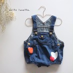 heart denim rompers