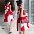 【dress】配色かわいいスタイル丸ネック切り替えノースリーブワンピース