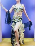 ベリーダンス衣装 コスチューム ブラック&ゴールド