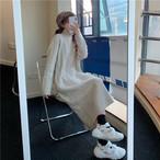 ハイネックかぎ編みニットロングワンピース ニットロングワンピース ロングワンピース 韓国ファッション