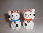 陶磁器招き猫ペア porcelain beekoning pair cats(No1)