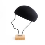 mature ha./Japanese old wooden block beret/black