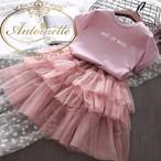 女の子 フリル かわいい pink tシャツ つき セットアップ おめかし