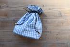 ギンガムチェック巾着ポーチ 大サイズ