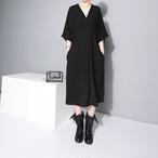 Vネック ミモレ丈 ワンピース ドレス【16148】