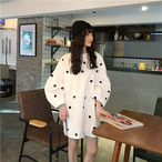 【送料無料】ボリューム袖が魅力的♡ ドット柄 パフスリーブ ミニ丈 ワンピース