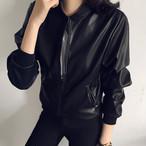 【outer】 スーツジャケット黒スタンドネックレトロ合わせやすい