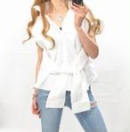 在庫限りSALE シースル切替シャツ/腰巻きデザイン/一体型/ホワイト