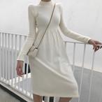 【dress】ニットワンピース2種類丈選べるシンプル着回せるレディースワンピース