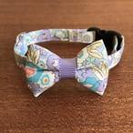 猫の首輪 リボン首輪 花柄 グログラン ブルーラベンダー