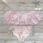 送料無料◆【オフショルボリュームフリル×花柄ビキニセット】オフショル水着 ピンク