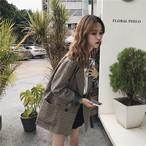 【outer】スーツシンプルチェック柄折襟合わせやすいアウター