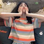 【tops】鮮度高めのストライプラウンドネックトップスTシャツ