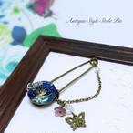 青いお花のストールピン