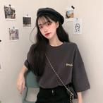 【送料無料】4カラー展開  ♡ カジュアル メンズライク ロゴ バックプリント オーバーサイズ 半袖 Tシャツ トップス