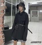 2019 夏 レディース 新作 トップス シャツ ブラウス ロング カジュアル バッグ 付き 黒 ブラック オルチャン 韓国ファッション 821