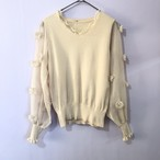 sheer sleeve beige knit