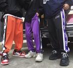 韓国ファッション パンツ レディース サイドライン ストリート系 スウェット ジャージ風 原宿系 ズボン【tb-390】
