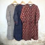 saruche 草木染めブロックプリントのAラインシャツワンピース